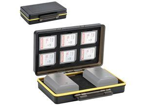 Slots SD SDHC SDXC Memory Card Holder Case with 2 Camera Battery Slots for Canon LPELPE8 LPE12 LPE17 NB13L Sony NPFZ100 NPFW50 NPBX1 Fujifilm NPW12NPW12S NP95 Nikon ENEL15 ENEL14