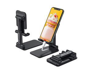 Foldable Cell Phone Stand, [2021 Updated] Angle & Height Adjustable Desk Phone Holder with Stable Anti-Slip Design Compatible with iPhone 12/12 Pro/Smartphones/iPad Mini/Kindle