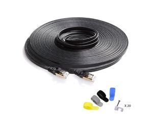 Cat7 Shielded Ethernet Cable 150ft Highest Speed Cable Flat Ethernet Patch Cable Support Cat5Cat6 Network600Mhz10Gbps Black Computer Cord + Free Clips and Straps for Router Xbox