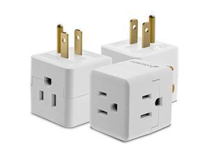 3 Outlet Wall Adapter Tap 3 Pack  3Prong Portable Travel Mini Plug Grounded Indoor AC Outlet ETL Listed White