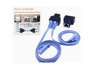 1Pair  RJ45 Splitter Adapter  Ethernet Cable Splitter Cat5 Cat5e Cat6 Cat7RJ45 Network Extension connector Ethernet Cable Sharing Kit with 2 PCS Cat6 Cable for Router TV BOX Camera PC L