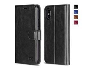 iPhone X Wallet Case, iPhone 10 Case [ Wireless Charging ] [ Card Slot ] [ Kickstand ] Leather Flip Wallet Phone Cover Compatible with iPhone X/iPhone 10 - Black