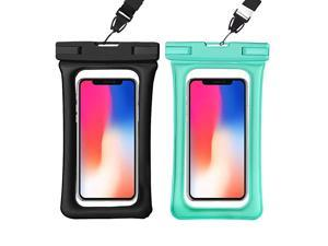 Phone Pouch 2 Pack IPX8 Universal Floating Phone Case TPU Clear Dry Bag for iPhone 66s788plusXXsXS MaxXR Samsung Galaxy s10s9s8 Note 9 up to 65 Black+Green