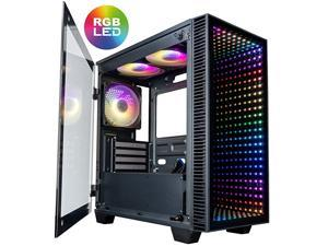 Micro Continuum mATX Gaming Desktop Case with Tempered Glass Door (6 Addressable RGB Lotus Fans Pre-Installed, Remote Controller, Motherboard Sync)