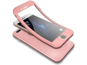 iPhone 7 Plus CaseiPhone 8 Plus Case 360 Degree Full Body Coverage Front Back Protecive Soft TPU Silicone Rubber Case + Tempered Glass Screen Protector Rose Gold