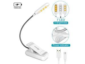 Clip On Book Light for Bed Kids 7 LED Reading Light with 9Level Warm Cool White Daylight Eye Care Lamp with Power Indicator for Bookworms White