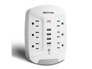 Wall Outlet USB Charger with LED Night Light and Surge Protector 1080 Joules 4 USB Ports 5V42A 6 AC Outlets 15A125V1875W Photocell Night Light ETL Listed White