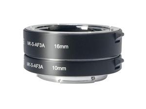 MKSAF3A Metal Auto Focus Macro Extension Tube Adapter Ring 10mm 16mm for Sony Mirrorless NEX EMount NEX 33N55N5RA6000A6300 and Full Frame A7 A7SA7SII A7RA7RII A7II