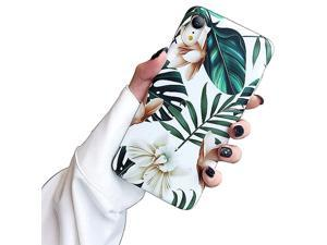 iPhone XR Case Cute Girls Women Green Leaves with White Flowers Pattern Flexible Soft TPU Slim Fit Full Protective Cover for iPhone XR 61 inch White