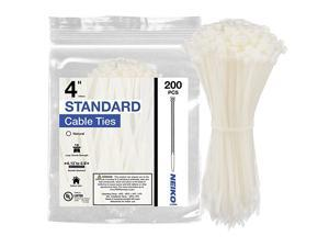 51259A Natural White 4Inch Heavy Duty Cable Zip Ties 200Piece | 18 lb Tensile Strength