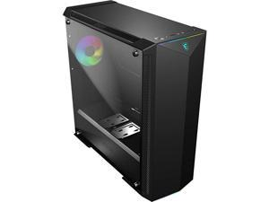Premium MidTower PC Gaming Case Tempered Glass Side Panel RGB 120mm Fan Liquid Cooling Support up to 420mm Radiator x 1 Cable Management System MPG GUNGNIR 100