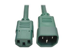 Standard Computer Power Extension Cord 10A 18 AWG IEC320C14 to IEC320C13 Green 2 ft P004002AGN