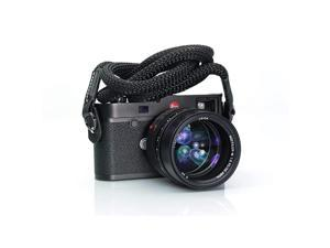 Luxury Sheetline Black Rope Camera Strap with Napa Leather Ends and electroplated mounting Rings