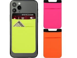 Stick On Phone Card Pouch and 1 Wallet Shield RFID Blocking Card Adhesive Phone Pocket Wallet Fits Most of Phones and Cases Holds Credit Cards Cash Driving License EarphonesPink Green Orange