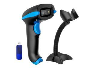 QR Code Scanner Wireless 2D Barcode Scanner With Stand Supports Screen Scan Handheld CMOS Imager Long Range Portable USB Bar Code Reader with Auto Sensing Read 1D 2D QR Code PDF417 Data Matrix