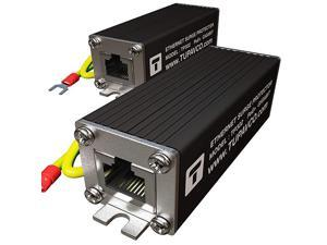 Ethernet Surge Protector 2 Pack PoE+ Gigabit Gas Discharge Tube for Full Protection Mounting Flange RJ45 Lightning Suppressor LAN Network CAT5CAT6 Thunder Arrestor GbE 1000 Mbps  TP302