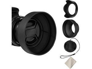67mm Lens Hood Set Collapsible Rubber Lens Hood with Filter Thread + Reversible Tulip Flower Lens Hood + Center Pinch Lens Cap + Microfiber Lens Cleaning Cloth