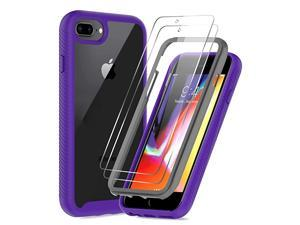 iPhone 8 Plus Case iPhone 7 Plus Case iPhone 6 Plus Case with Tempered Glass Screen Protector 2 Pack  FullBody Shockproof Hybrid Bumper Phone Cover Case for Apple iPhone 8 Plus Purple