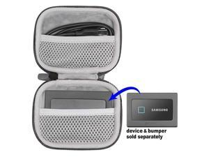 Protective Case for Samsung T7 T7 Touch Portable SSD 1TB 2TB 500GB USB 32 Mesh Pocket for T7 spearate mesh Pocket to Hold Another T7 or Upto Two Cords Wrist Strap Gray case
