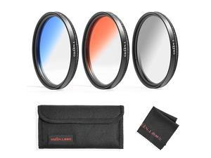 Color Filter Set 72mm Graduated Gray Orange Blue Filter Slim Adjustable Filter with Filter Pouch Cleaning Coth