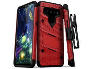Bolt Series LG V50 ThinQ 5G Case   MilitaryGrade Drop Protection wKickstand Bundle Includes Belt Clip Holster + Lanyard Red Black