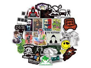 Hacker Stickers Pack 50 Pcs Cybersecurity Stickers Vinyl Decals for Water Bottle Hydro Flask Laptop Ipad Luggage