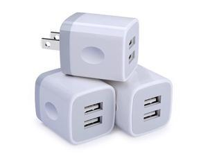 Wall ChargerCharging Adapter 3Pack 21A Dual Port Wall Charging Plug Block Head Box Travel Charger Cubes Replacement iPhone 11 Pro Max XS XR X 8 7 6 PlusiPadiPodSamsungLGAndroid Phone