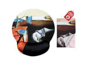 Dali The Persistence of Memory Ergonomic Design Mouse Pad with Wrist Rest Hand Support Round Large Mousing Area Matching Microfiber Cleaning Cloth for Glasses Screens