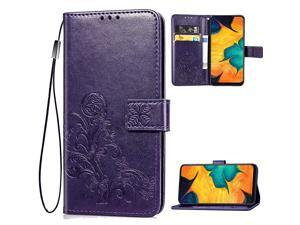 A20 Wallet CaseA30 Case Flower Embossed Premium PU Leather Flip Protective Case Cover with Card Holder and Stand for Samsung A20A30 2019 Release Purple