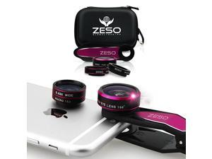 Cell Phone Camera Lens 3 in 1 Kit by  Professional Fisheye Macro Wide Angle Lenses | for iPhone Samsung Galaxy Android iPads Tablets | Universal Clip Hard Case HOT PINK