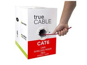 Cat6 Shielded Riser (CMR), 1000ft, Red, 23AWG Solid Bare Copper, 550MHz, ETL Listed, Overall Foil Shield (FTP), Bulk Ethernet Cable
