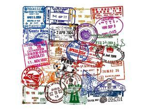 Bottle Stickers Travel Immigration Postmark 50 Pcs Suitcase Stickers Pack proof Decals for Bottle Laptops Ipad Cars Luggages
