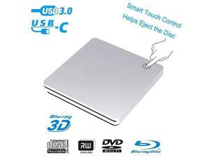 3D Blu Ray DVD Drive,USB 3.0 and Type-C Blu Ray DVD Burner Ultra Slim Smart Touch Slot-in BD CD DVD RW Burner Player Writer Compatible with Laptop Desktop MacBook Windows 7 8 10 Mac OS-Silver