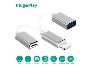 iOS OTG USB Adapter,  2 in 1 USB Male to Female Extension USB OTG Cable with Charging Port Compatible iOS 9.2-14, USB Flash Drive Mouse MIDI Keyboard Piano Audio Interface, Plug and Play