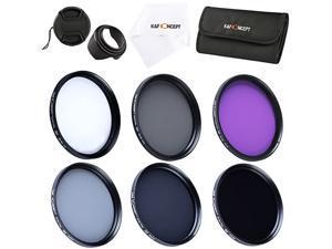 Concept 6pcs 49mm Slim UV Slim CPL Slim FLD ND2 ND4 ND8 Lens Filter Kit UV Protector Circular Polarizing Filter Neutral Density Filter for Sony NEX5 NEX7 A3000 + Petal Lens Hood + Center Pinch Lens C