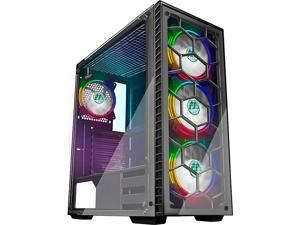 ATX Mid Tower Gaming Computer Case 4 RGB LED Fans 2 Translucent Tempered Glass Panels USB 30 PortCable ManagementAirflow Gaming Style Window Case 903 S4