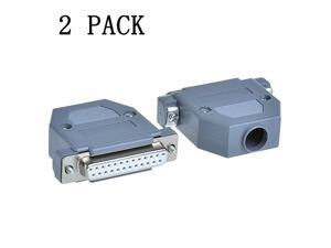 2PCS Female DB25 Solder Connector RS232 485 422 DSUB Serial to 25pin Port Terminal Adapter Breakout Board Hoods Complete Set of Crimp Connector Assortment Kit