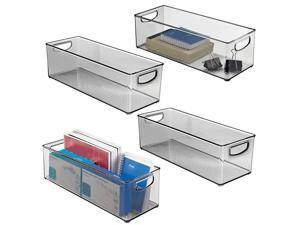 Large Stackable Plastic Storage Bin Container Home Office Desk and Drawer Organizer Tote with Handles Holds Gel Pens Erasers Tape Pens Pencils Markers 16 Long 4 Pack Smoke Gray