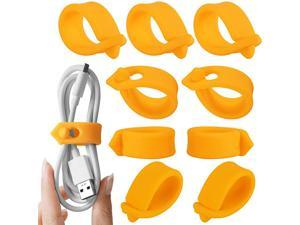 Cord Organizer Cable Straps Clips Wire Ties Earbuds Earphone Headphone Headset Wrap Winder Holder Keeper Manager ManagementSet of 9 Orange