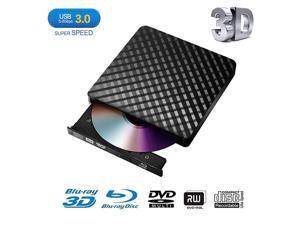 External Blu Ray DVD DrivePortable UltraThin USB 30 External 3D Blu Ray CD DVD BD Burner DVD RW Player Writer Reader Disk for Mac OS Windows XP7810 MacBook PC iMac LaptopBlack