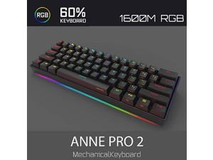 Anne Pro 2 61Keys Mechanical Gaming Keyboard 60% True RGB Backlit - Wired/Wireless Bluetooth 5.0 PBT Type-c Up to 8 Hours Extended Battery Life, Full Keys Programmable (Gateron Brown, Black)