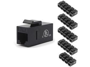 CAT6 RJ45 Keystone Jack Inline CouplerBlack 25Pack