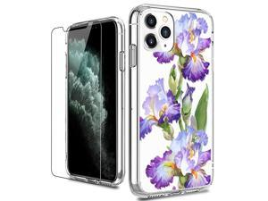 iPhone 11 Pro Max Case with Screen Protector,Clear with Fleur-de-LYS Floral Flower Designs for Girls Women,Shockproof Slim Fit Protective Phone Case for iPhone 11 Pro Max 6.5 inch 2019