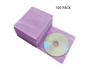 100 Pack Premium CD DVD SleevesThick NonWoven Material DoubleSided Refill Plastic Sleeve for CD and DVD Storage Binders Disc Case Purple