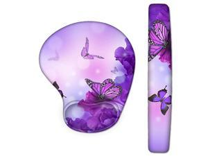 Wrist Rest Pad and Mouse Wrist Rest Support Mouse Pad Set Ergonomic Support Premium Memory Foam Durable amp Comfortable amp Lightweight for Easy Typing amp Pain Relief Purple Butterflies