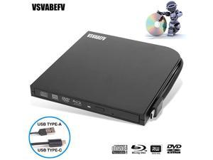 External Blu Ray DVD Drive Burner Player USB30 TypeC Dual interfaces Portable Slim Automatic SlotLoading CDDVDRAMBDROM Superdrive + RW Reader with High Speed Data for Laptop PC