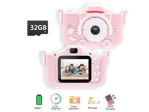 Kids Camera  Digital Video Camera for Girls Toddlers Toy and Girls Age 3 4 5 6 7 8 9 10 with 32GB SD CardPink