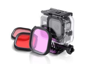 Dive Filter Kit for GoPro Hero 8 Black Official Original Waterproof Protective Housing Red Light Red and Magenta Filter 3Pack Enhances Colors for Various Underwater Video and Photography