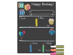 Birthday Milestone Board with Basic Designs and Reusable Chalkboard Style Surface 12 by 16 Inches 3 Bright Markers