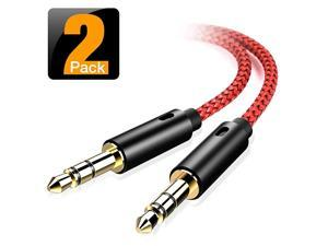 AUX Cable 2Pack45CMHiFi Sound Quality 35mm Auxiliary Audio Cable Nylon Braided AUX Cord for CarHome StereosSpeakeriPhone iPod iPadHeadphonesSony BeatsEcho Dot amp More